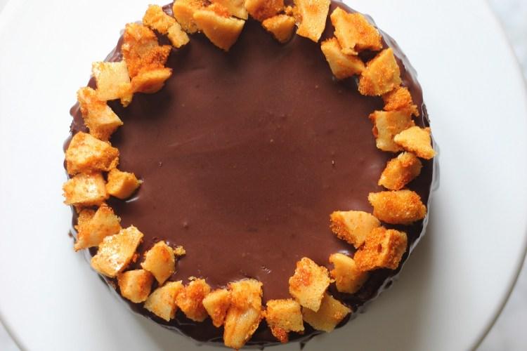 Dark Chocolate Cheesecake with Honeycomb Candy