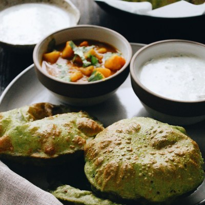 Green Puris and Potato Vegetable with Cucumber Raita