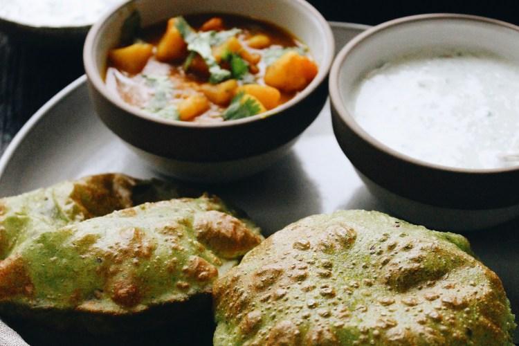 Green Puris and Potato Vegetable with Cucumber Raita