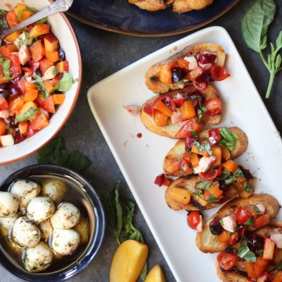 Stone Fruit and Cherry Tomato Mini Bruschetta