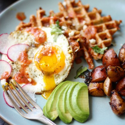 Huevos Racheros with Buttermilk Corn Waffles