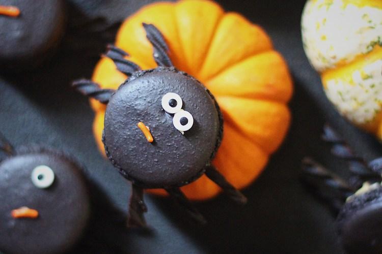 Dark Chocolate Spider Macarons with Pumpkin Cardamom Buttercream Filling