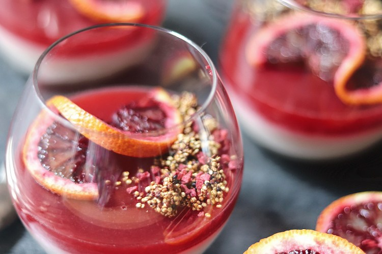 Blood Orange and Cardamom Panna Cotta with Blood Orange Jelly and Toasted Quinoa Crumble