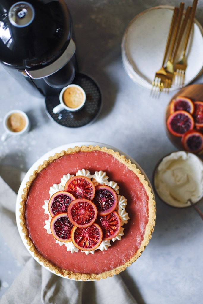 Blood Orange And Hibiscus Curd Tart With A Gingersnap Crust And