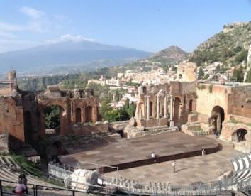 Mt. Etna from Taormina's ancient amphitheatre