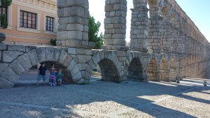 Roman aqueducts in Segovia Spain