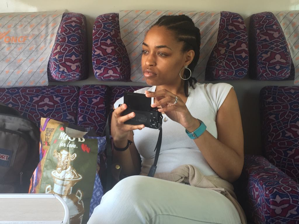 Black woman on the train in Morocco