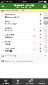 Keputusan penuh liga perdana 19.4.2016