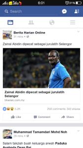 Zainal abidin, dipecat dari jurulatih selangor!
