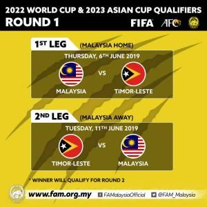 Keputusan undian piala dunia 2023, malaysia vs timor leste 6 jun ini 2019
