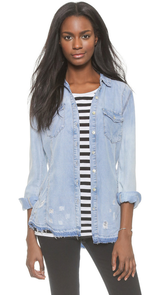 Blank Denim Frayed Denim Shirt