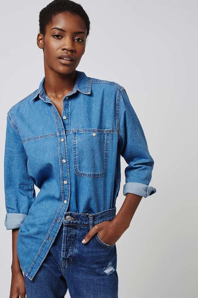 topshop moto oversize denim shirt