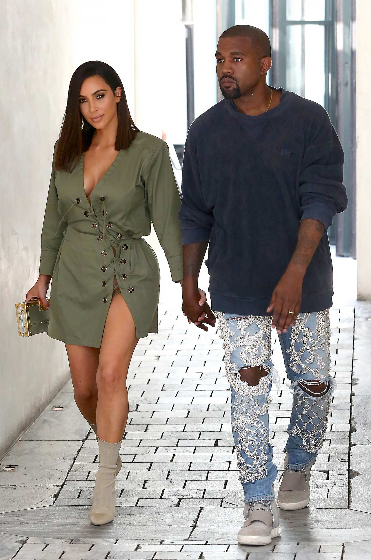 f1c87e231386d Kanye West Wears Custom Balmain Embellished Jeans