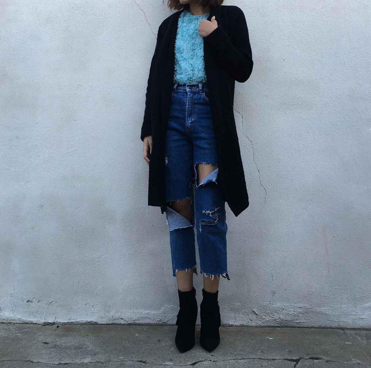 Denim DIY: How To Distress & Create Semi Cut Out Panel Jeans