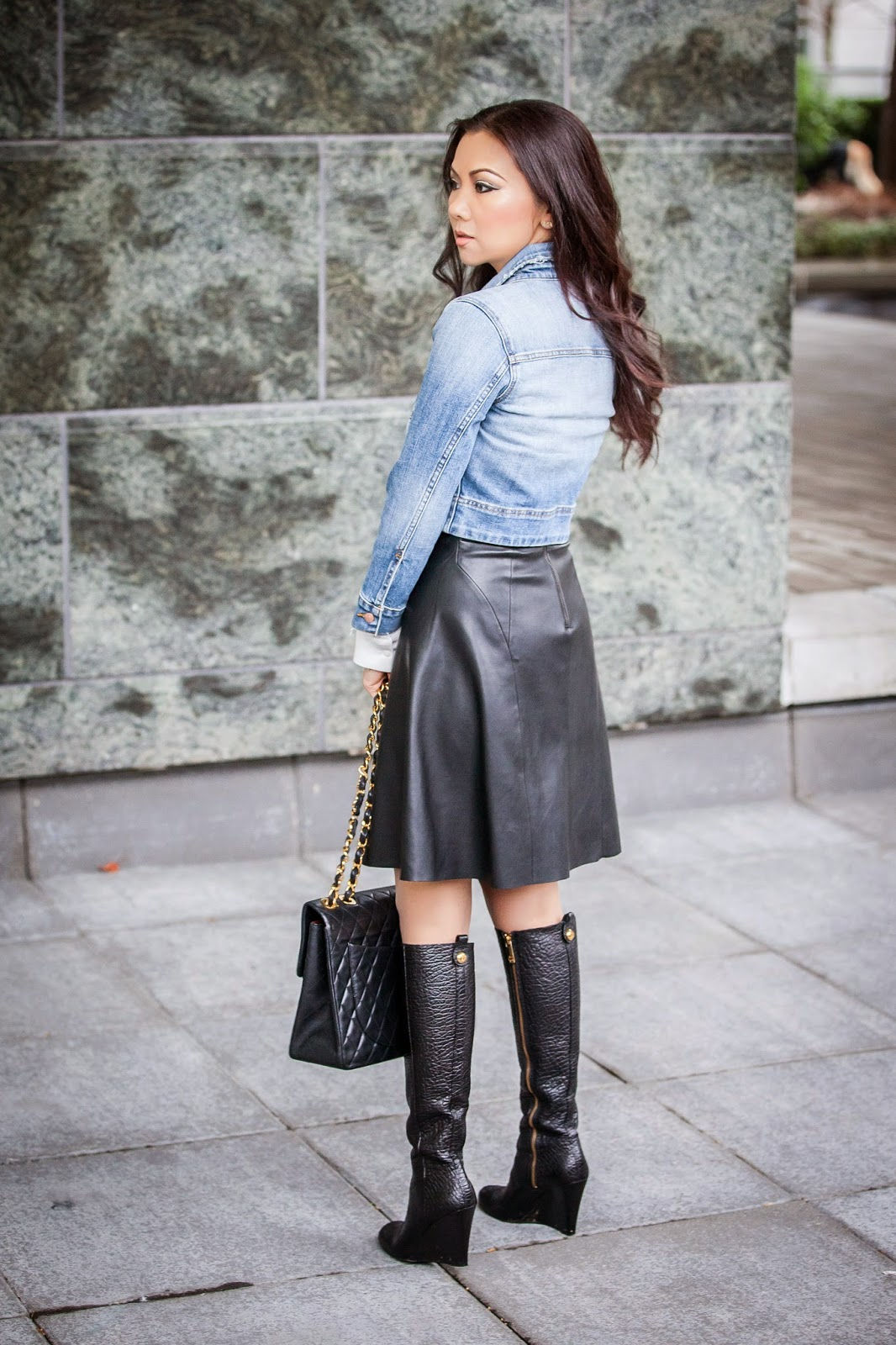 denim-jacket-leather-skirt