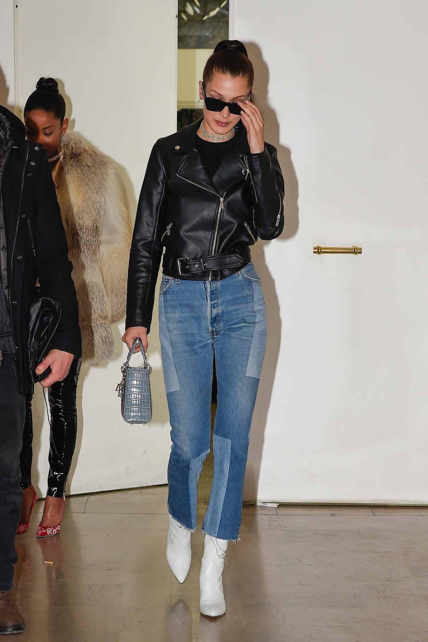 da63d52777d2 Bella Hadid Wears RE DONE Levi s Denim Patch Jeans