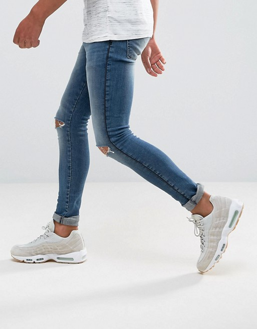 f1b35a23e3a ASOS Extreme Super Skinny Jeans With Knee Rips And Side Seams