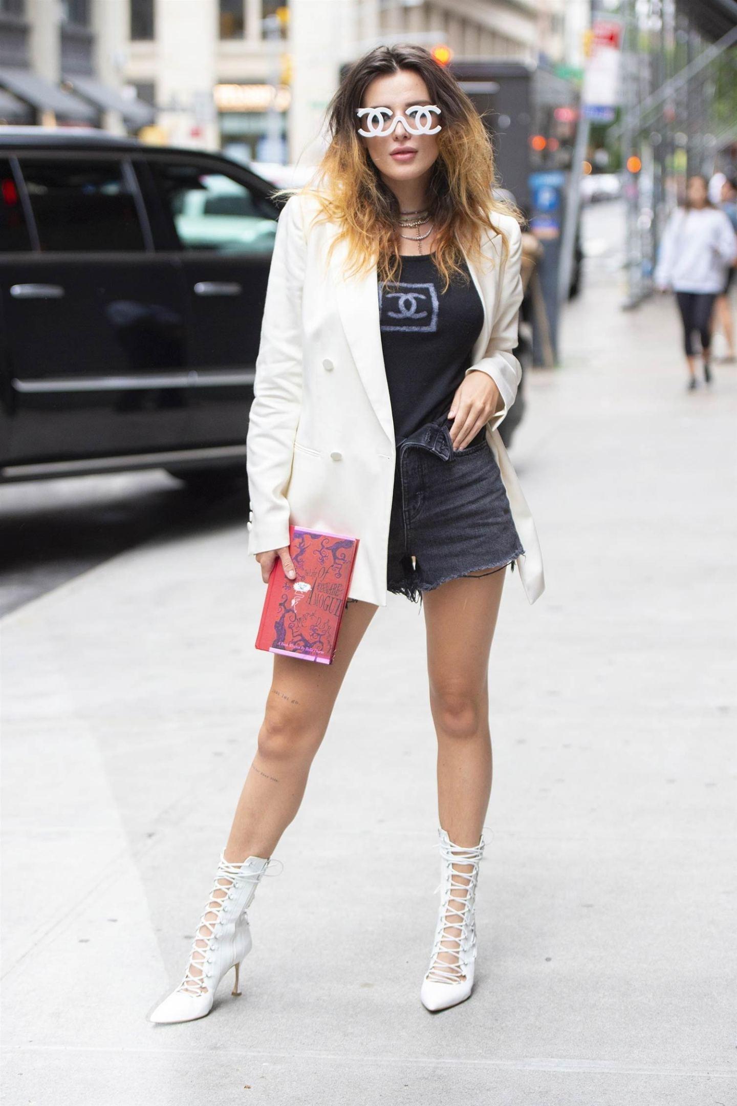 Bella Thorne Wears Denim Shorts