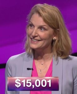 Nan Bauer, tonight's Jeopardy! winner (for the October 23, 2017 episode.)