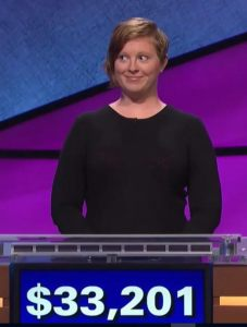 Scarlett Sims, winner of the October 12, 2017 episode of Jeopardy!