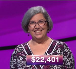 Jenny Wrigley, tonight's Jeopardy! winner (for the November 1, 2017 episode.)