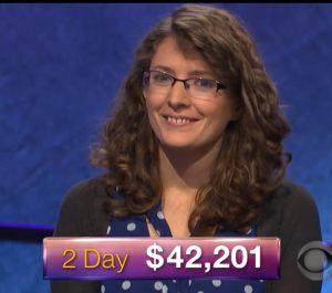 Rachel Lindgren, today's Jeopardy! winner (for the January 22, 2018 episode.)
