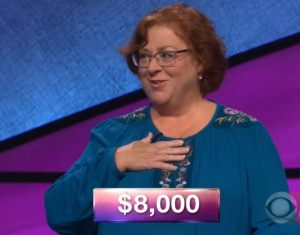 Saralee Etter, today's Jeopardy! winner (for the January 2, 2018 episode.)