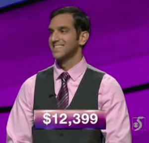 Rahul Gupta, today's Jeopardy! winner (for the March 16, 2018 episode.)