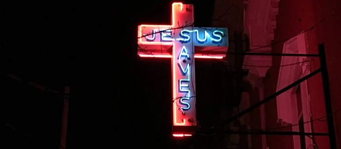 Jesus Saves Cross at Night