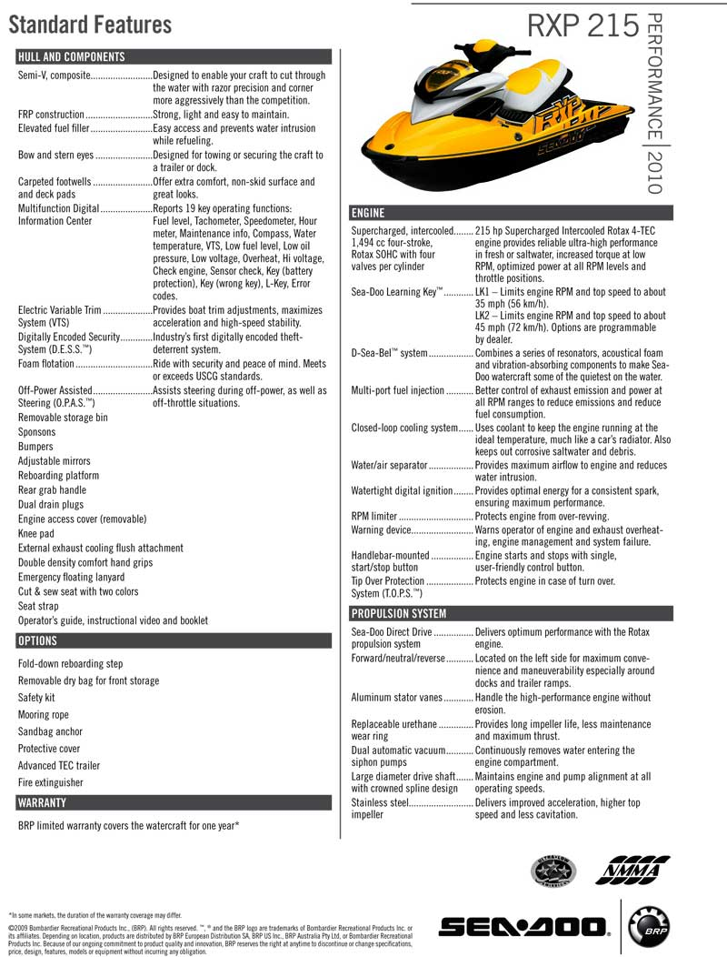 SEA DOO RXP NEW SEADOO 2010 SEADOO RXP SALES PARTS FOR