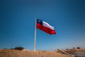 Giant Flag of Chile atop Morro de Arica