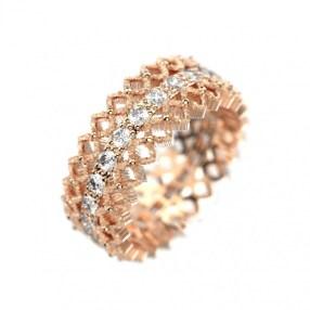 Bague Duchesse en or rose et diamants
