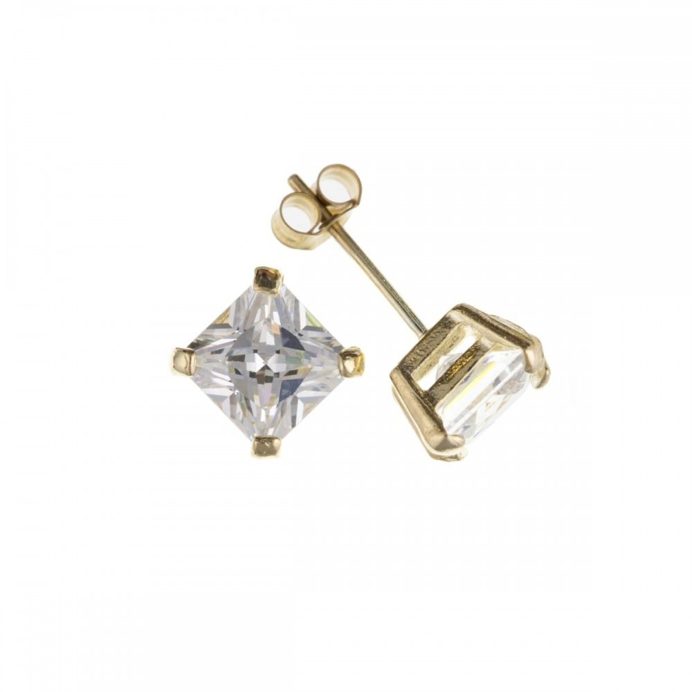9ct Gold 5mm Square White Cubic Zirconia Stud Earrings