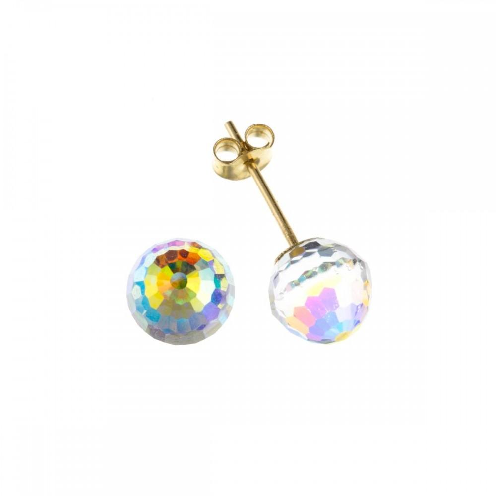 9ct Gold Crystal Ball Stud Earrings