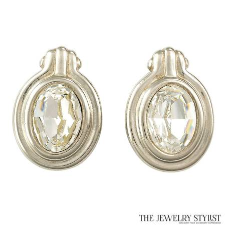 Givenchy 1980s Silver-tone Oval Rhinestone Earrings