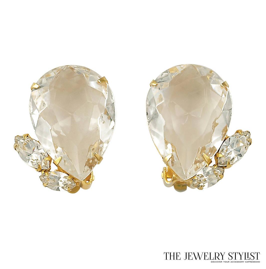 Scaasi Earrings with Huge Pear-Shaped Rhinestones