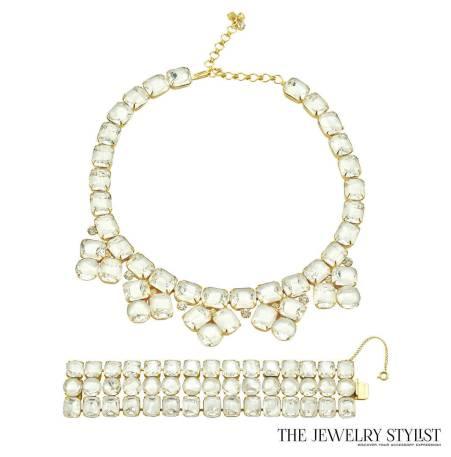 Unsigned Sherman White Rhinestone Necklace and Bracelet Set