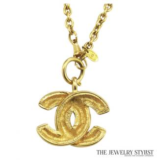 Chanel Big CC Logo Quilted Pendant Necklace Back View