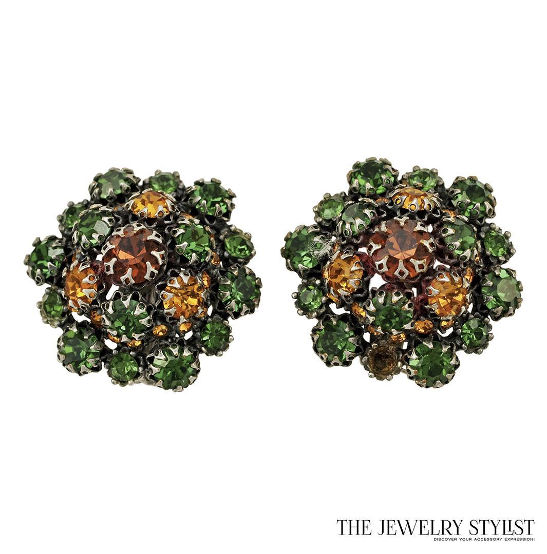 Schiaparelli Emerald Green and Topaz Rhinestone Earrings