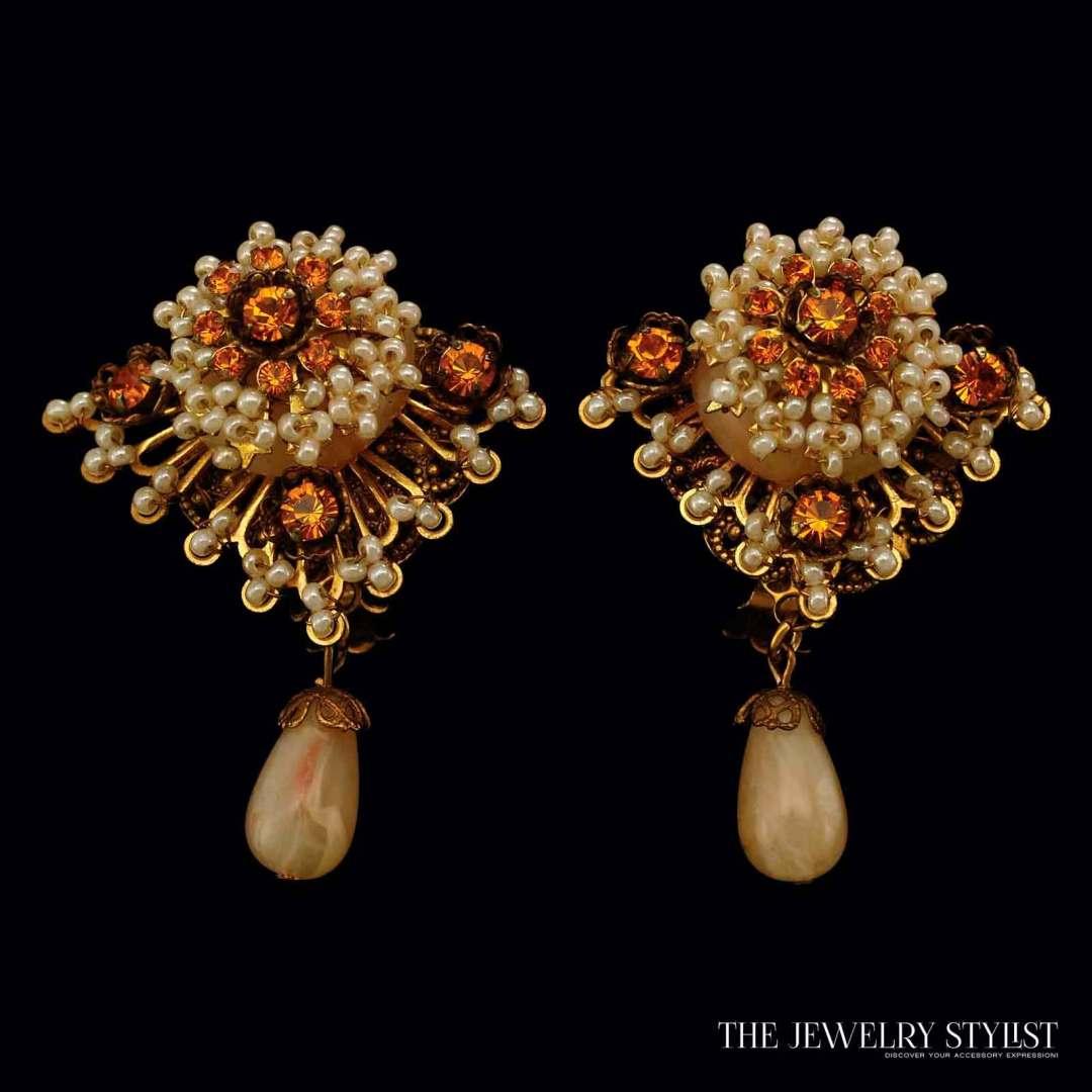 Vintage Stanley Hagler Floral Style Seed Bead Earrings