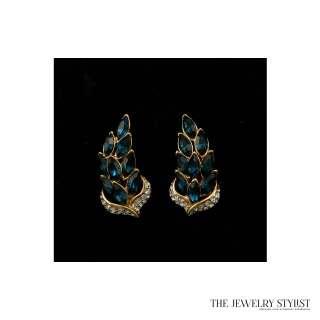 Gorgeous Vintage Sapphire Rhinestone Earrings