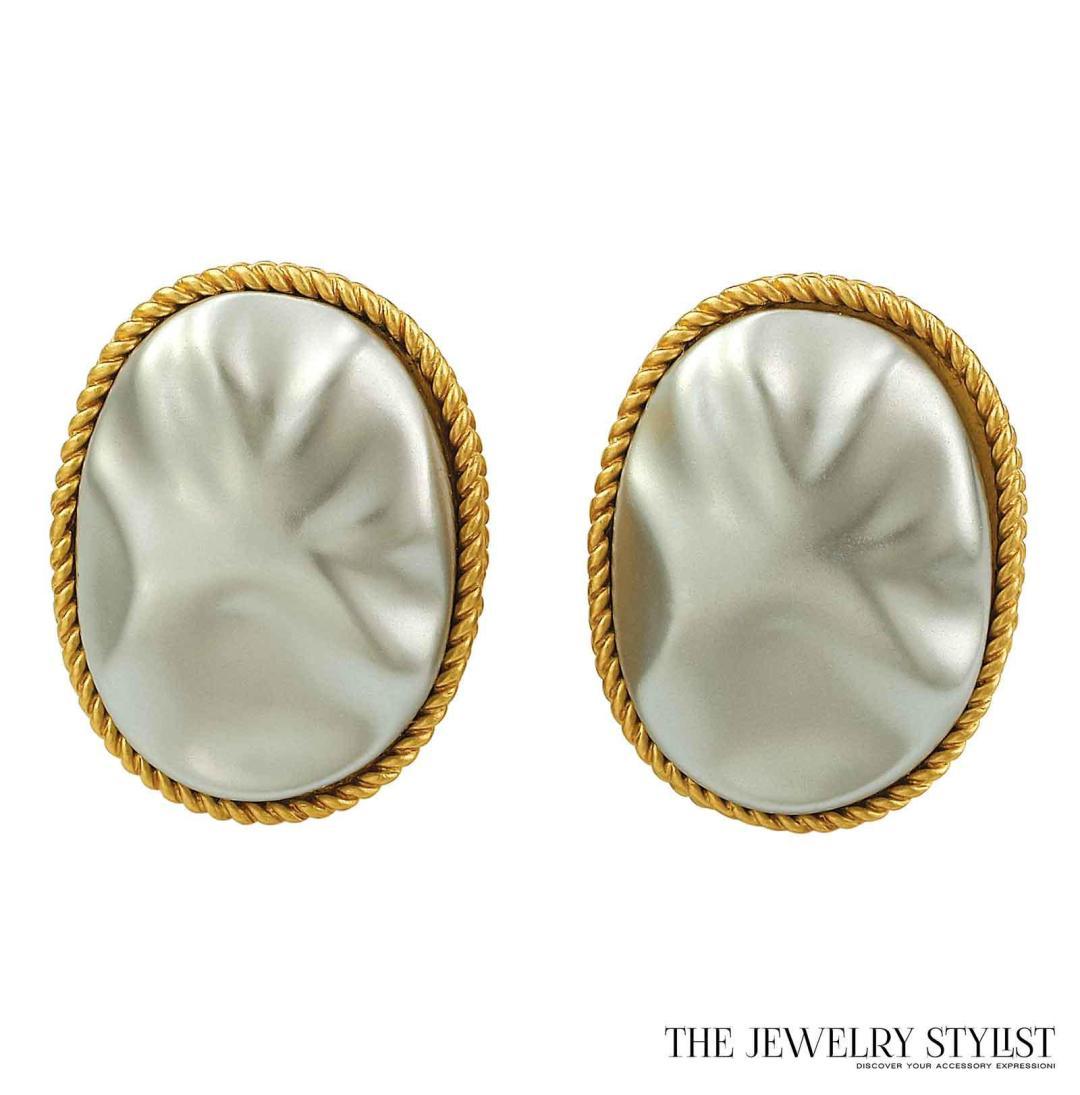YSL Big Gold-Toned Cabochon Earrings