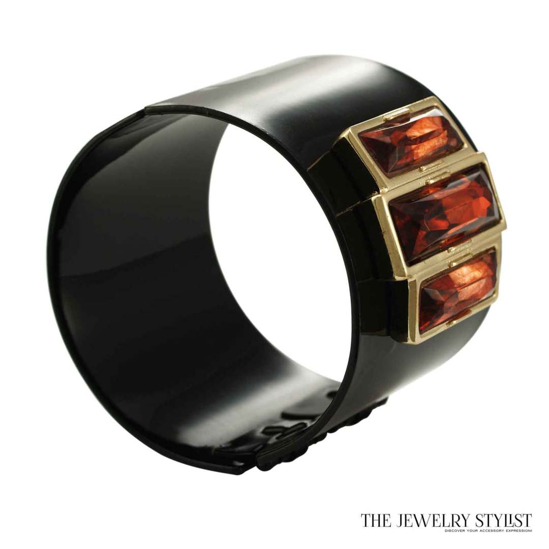 Art Deco Style Black Enamel Cuff With Faux Topaz Accents by Lee Angel