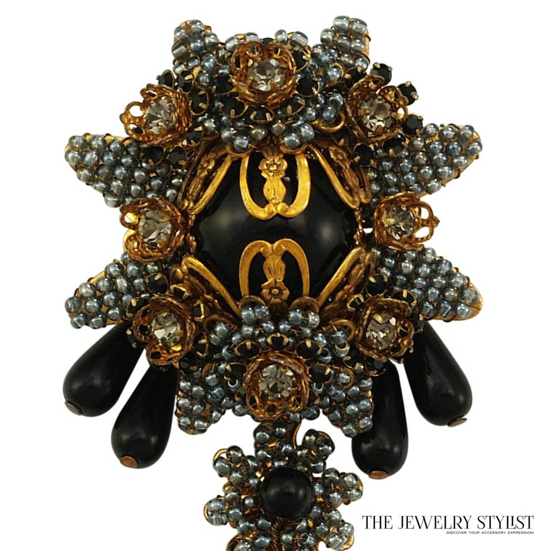 Exquisite Stanley Hagler Black and Smokey Grey Hand-Beaded Gold Tone Brooch