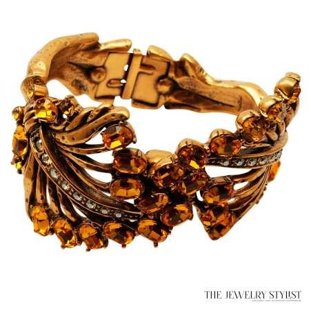 Oscar de la Renta Sculptural Stylistic Leaf Cuff With Swarovski Crystals