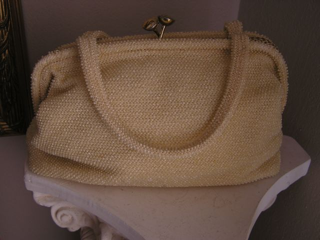 Fabulous 1950-1960s Cream Colored Beaded Purse