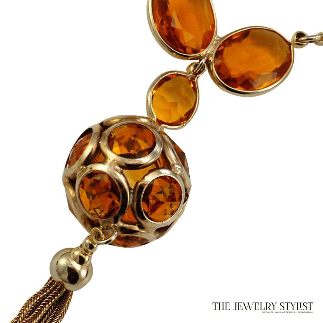 Fab Bezel Set Topaz-Colored Rhinestone Pendant Necklace