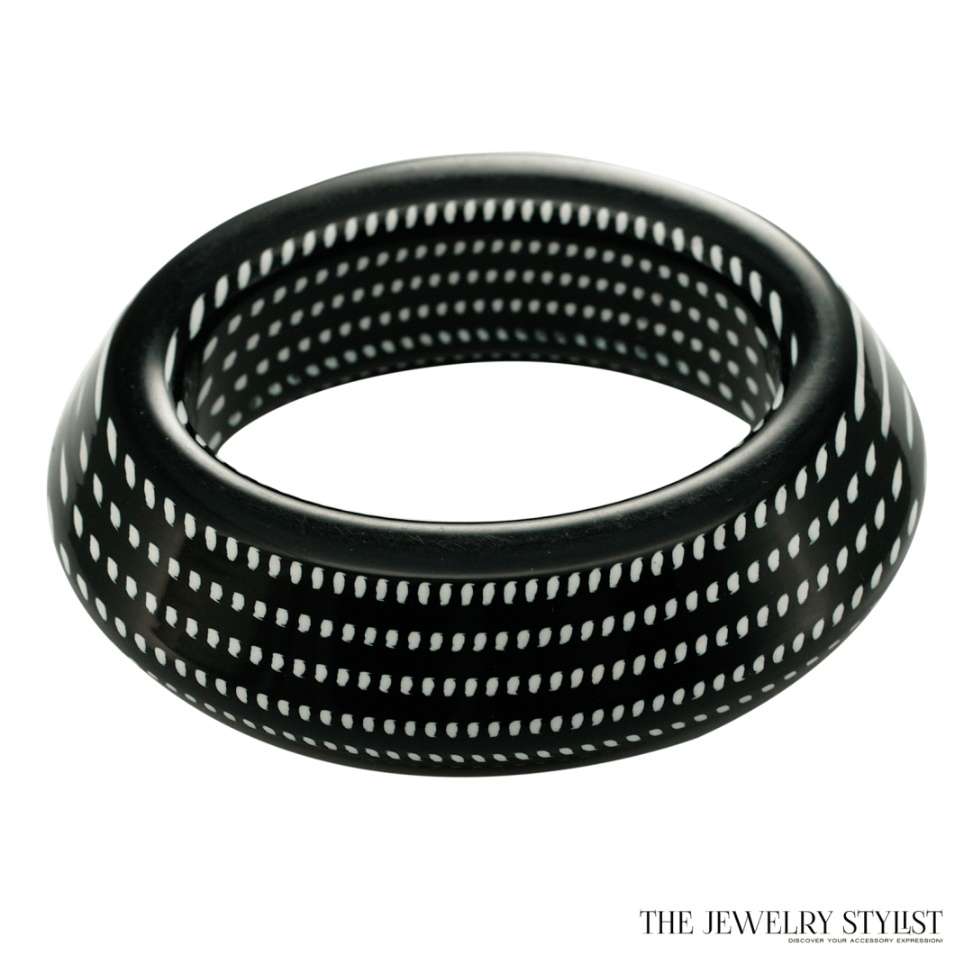 Chunky Italian Black & White Hard Resin Bangle