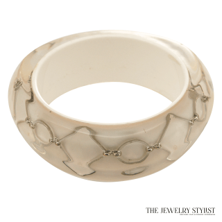 Vintage Italian Hard Resin Bracelet with Embedded Silver Chain