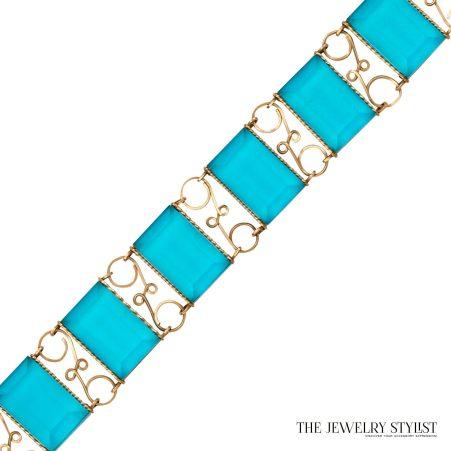 Vintage Faceted Resin Hand-Wired Link Bracelet